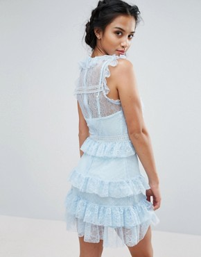 photo Floral and Dotty Mesh Ruffle Hem Dress by True Decadence Petite, color Soft Blue - Image 2