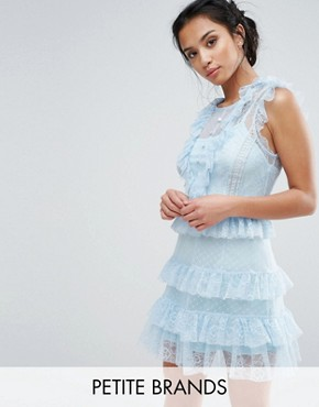 photo Floral and Dotty Mesh Ruffle Hem Dress by True Decadence Petite, color Soft Blue - Image 1