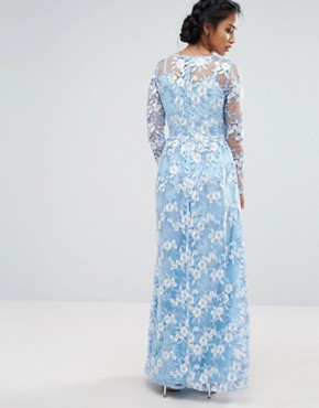 photo Premium 3D Lace Applique Maxi Dress by True Decadence Petite, color Soft Blue - Image 2