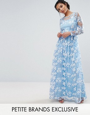 photo Premium 3D Lace Applique Maxi Dress by True Decadence Petite, color Soft Blue - Image 1