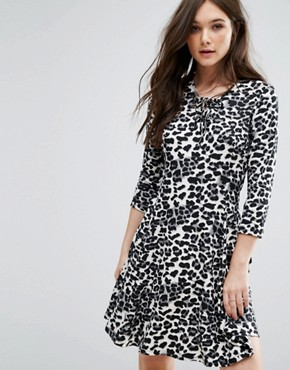 photo Animal Print Dress by QED London, color Grey - Image 1