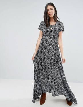 photo Wild Love Black and White Printed Maxi Dress by Raga, color Black/White - Image 1