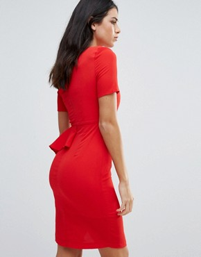 photo Short Sleeve Pencil Dress with Side Ruffle by Zibi London, color Tomato - Image 2