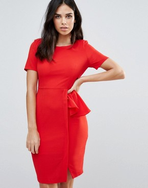 photo Short Sleeve Pencil Dress with Side Ruffle by Zibi London, color Tomato - Image 1