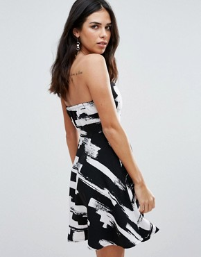 photo Bandeau Skater Dress In Smudge Print by Zibi London, color Black/White - Image 2