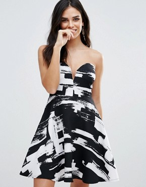 photo Bandeau Skater Dress In Smudge Print by Zibi London, color Black/White - Image 1