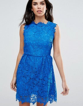 photo All Over Lace Skater Dress by Zibi London, color Sax Blue - Image 1