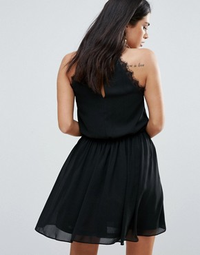 photo Racer Neck Dress with Lace Insert by Zibi London, color Black - Image 2