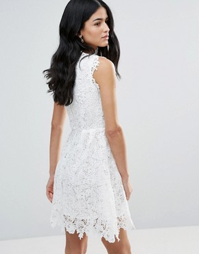 photo All Over Lace Skater Dress by Zibi London, color White - Image 2