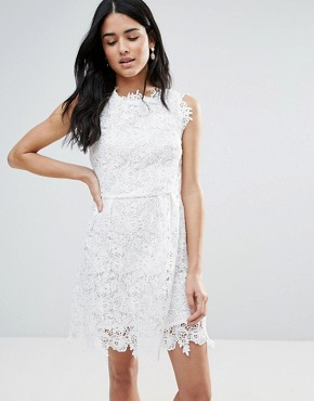 photo All Over Lace Skater Dress by Zibi London, color White - Image 1