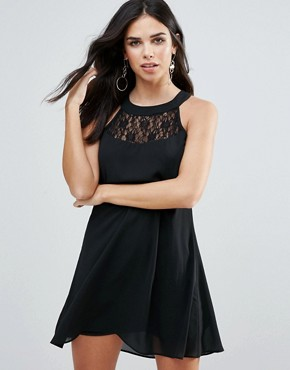 photo Shift Dress with Lace Insert by Zibi London, color Black - Image 1