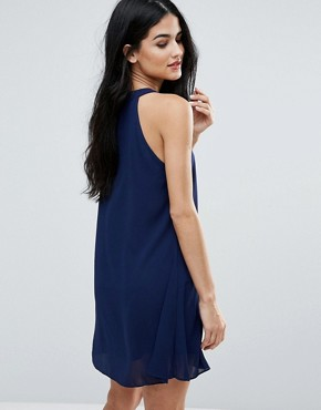 photo Shift Dress with Lace Insert by Zibi London, color Navy - Image 2
