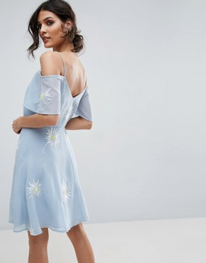 photo Cold Shoulder Embroidered Mini Dress by ASOS PREMIUM, color Blue - Image 2