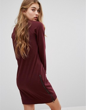photo Zip Side Sweater Dress by Lee, color Plum - Image 2