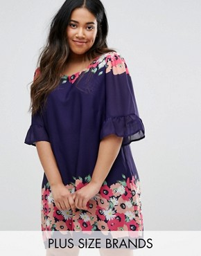 photo Swing Dress With Frill Sleeves In Border Print by Yumi Plus, color Navy - Image 1