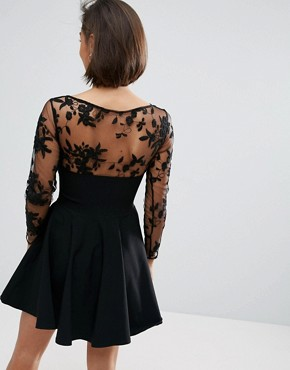 photo Skater Dress with Embroidered Sleeves by City Goddess Petite, color Black - Image 2