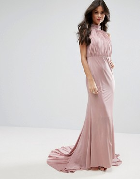 photo Maxi Dress with Open Back by City Goddess Petite, color Rose - Image 2