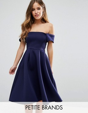 photo Bardot Skater Dress In Textured Fabric by City Goddess Petite, color Navy - Image 1