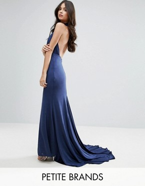 photo Maxi Dress with Open Back by City Goddess Petite, color Navy - Image 1