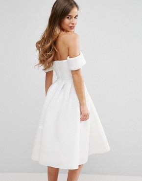 photo Bardot Skater Dress In Textured Fabric by City Goddess Petite, color Cream - Image 2