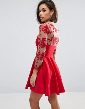 photo Skater Dress with Embroidered Sleeves by City Goddess Petite, color Red - Image 2