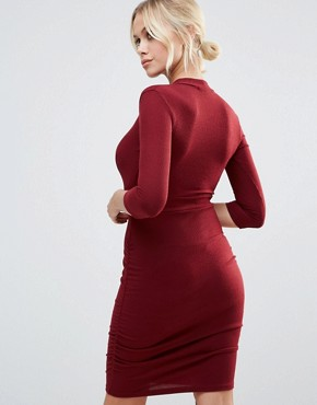 photo Plunge Front Dress with Choker Neck by Daisy Street, color Wine - Image 2