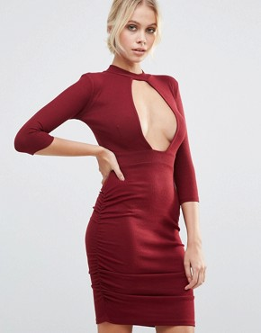 photo Plunge Front Dress with Choker Neck by Daisy Street, color Wine - Image 1