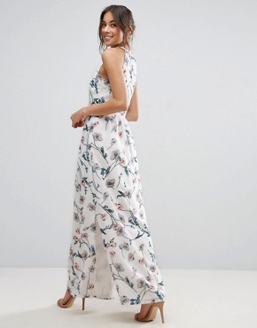 photo Maxi Dress In Floral Print with Pleated Neckline by Uttam Boutique - Image 2