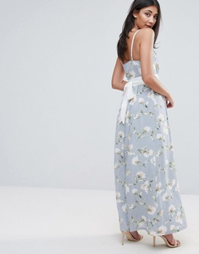 photo Maxi Dress In Floral Print with Contrast Band by Uttam Boutique, color Green - Image 2