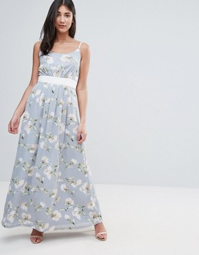 photo Maxi Dress In Floral Print with Contrast Band by Uttam Boutique, color Green - Image 1