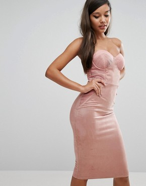 photo Sweetheart Pencil Dress with Corset Detail by Rare London, color Pink - Image 1