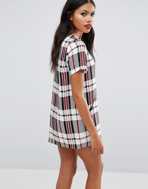 photo Check Shift Dress by Girls on Film, color White - Image 2