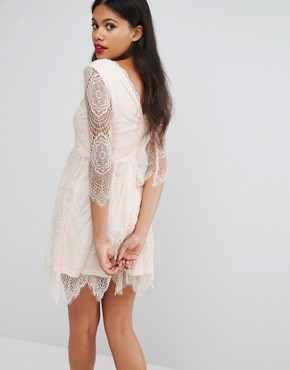 photo Lacey Skater Dress by Girls on Film, color Nude - Image 2
