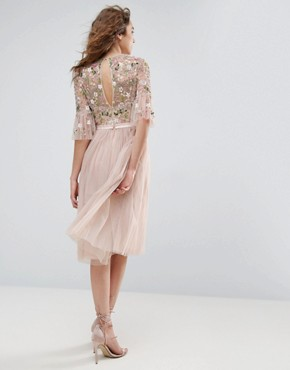 photo Ruffle Sleeve Midi Dress with Floral Embroidery by Needle & Thread, color Petal Pink - Image 2
