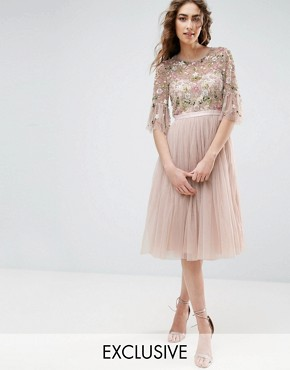 photo Ruffle Sleeve Midi Dress with Floral Embroidery by Needle & Thread, color Petal Pink - Image 1