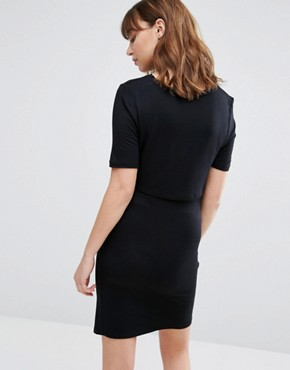 photo Double Layered Nursing Dress by New Look Maternity, color Black - Image 2