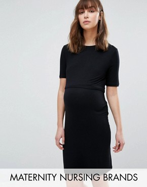 photo Double Layered Nursing Dress by New Look Maternity, color Black - Image 1