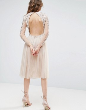 photo Long Sleeve Embroidered Midi Dress by Needle & Thread, color Rose Beige - Image 2