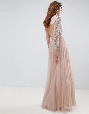 photo Long Sleeve Embroidered Maxi Dress by Needle & Thread, color Petal Pink - Image 2