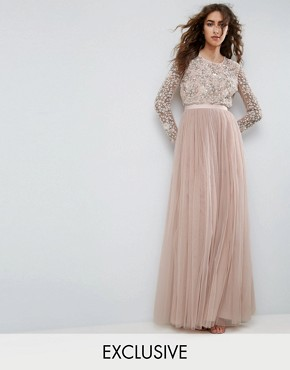 photo Long Sleeve Embroidered Maxi Dress by Needle & Thread, color Petal Pink - Image 1