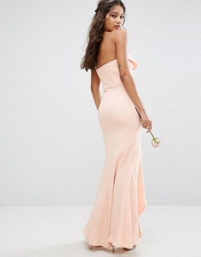 photo Bandeau Frill Front Maxi Dress by Jarlo, color Nude - Image 2