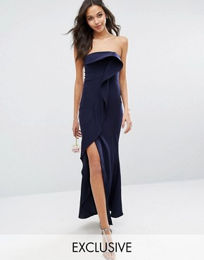 photo Bandeau Frill Front Maxi Dress by Jarlo, color Navy - Image 1