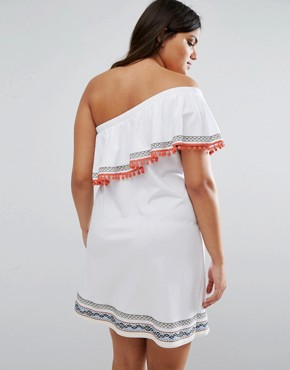 photo One Shoulder Sundress with Aztec Trims and Pom Poms by ASOS CURVE, color White - Image 2