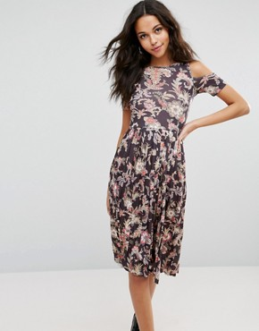 photo Midi Skater Dress with Pleated Skirt in Paisley Print by ASOS, color Paisley Print - Image 1