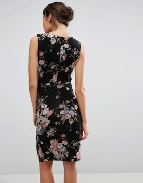 photo Dress with Twist Front In Floral Print by Uttam Boutique, color Black - Image 2