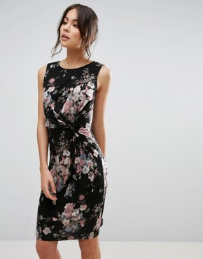 photo Dress with Twist Front In Floral Print by Uttam Boutique, color Black - Image 1