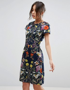 photo Dress In Floral Print by Uttam Boutique, color Navy - Image 1