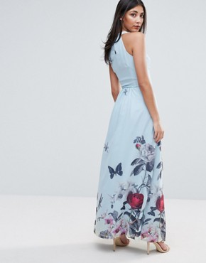 photo Maxi Dress with Pleated Neckline In Floral Print by Uttam Boutique, color Pale Blue - Image 2