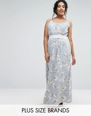 photo Maxi Dress with Contrast Band by Uttam Boutique Plus, color Grey - Image 1