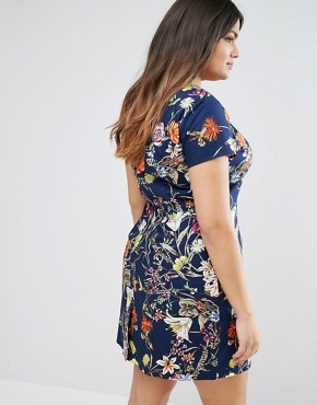 photo Pencil Dress In Floral Print by Uttam Boutique Plus, color Navy - Image 2